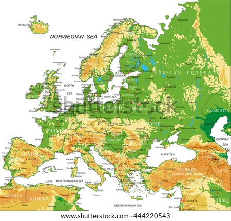Europe Physical Map Stock Vector Shutterstock - Algeria physical map