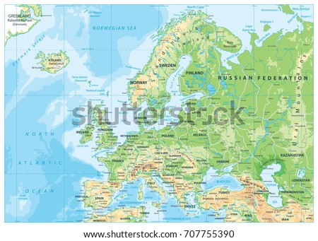 Europe political map roads detailed vector vectores en stock europe physical map detailed vector illustration of europe physical map gumiabroncs Gallery