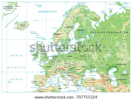 Europe Physical Map Detailed Vector Illustration Stock Vector - Map of europe and russia physical
