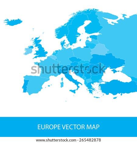 Europe Political Map - stock vector