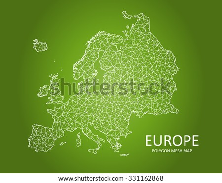 Europe - Polygon Mesh Map on Green Background - stock vector