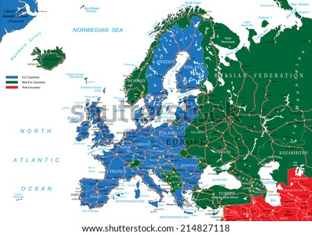 Europe road map - stock vector