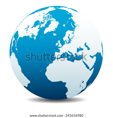 Europe, Russia and Africa, Global World - stock vector
