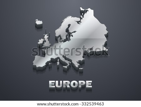 Europe Shiny Silver 3D Map