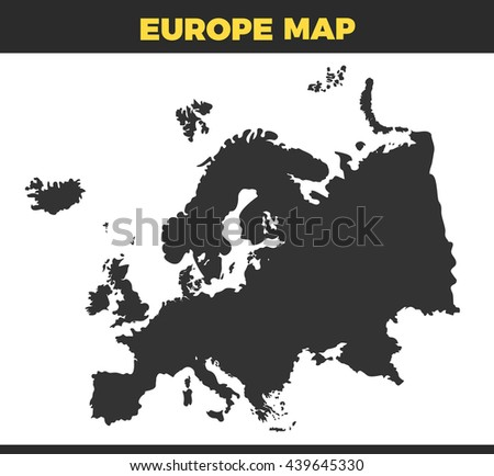 Europe silhouette Vector design Illustration. Empty black or gray template isolated on white background - stock vector