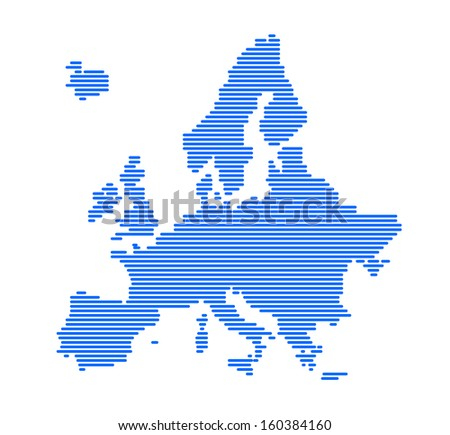 Europe silhouette with strips - vector illustration.   - stock vector