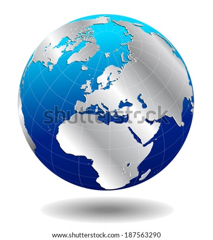 Europe Silver Global World - Elements of this image furnished by NASA the base map of the Globe is Hand Drawn using the pen tool with a tablet pen for maximum detail - stock vector