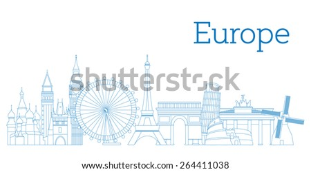 Europe skyline detailed silhouette Outline version Vector illustration - stock vector