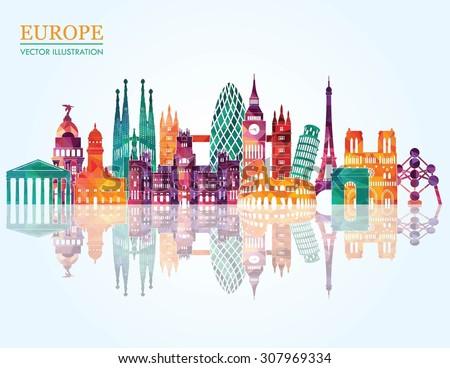 Europe skyline detailed silhouette. Vector illustration - stock vector