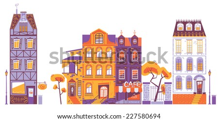 Europe style houses in vector