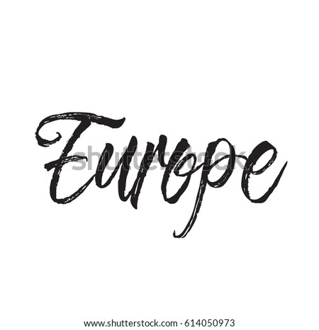 Europe Text Design Vector Calligraphy Typography Stock