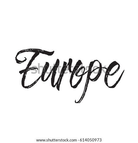 Europe Text Design Vector Calligraphy Typography Stock