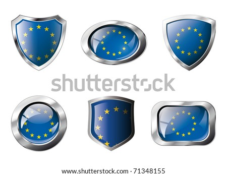 Europe union set shiny buttons and shields of flag with metal frame - vector illustration. Isolated abstract object against white background. - stock vector