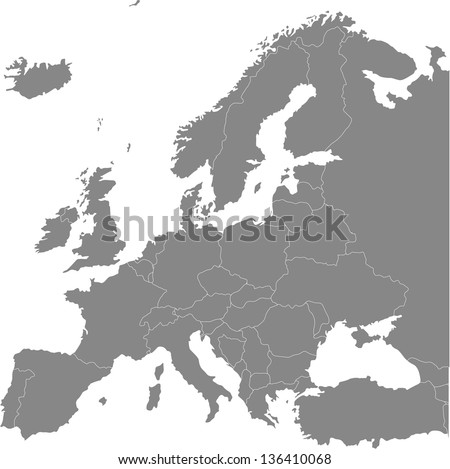 Europe vector political map with state borders - stock vector