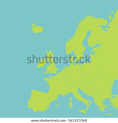 Europe vector political map with state borders