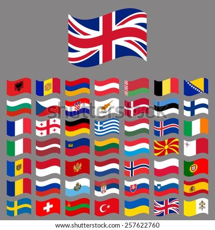 Europe, waving Vector flag collection part 2/6 - stock vector