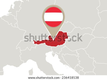 Europe with highlighted Austria map and flag - stock vector