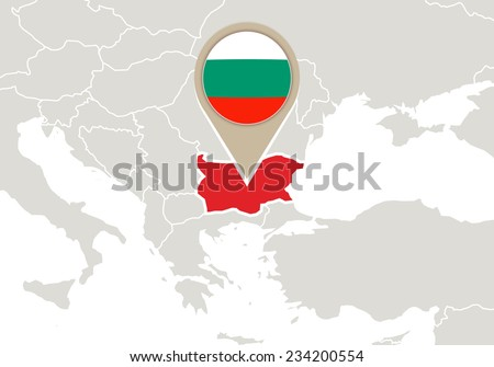 Europe with highlighted Bulgaria map and flag - stock vector