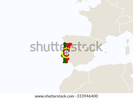 Europe with highlighted Portugal map. Vector Illustration.