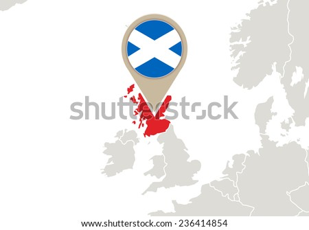 Europe with highlighted Scotland map and flag - stock vector