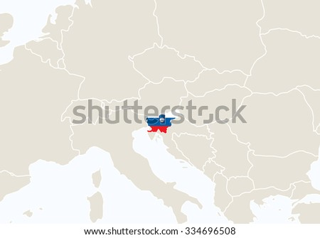 Europe with highlighted Slovenia map. Vector Illustration.
