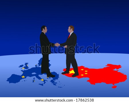 European and Chinese business men meeting with handshake - stock vector