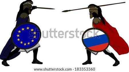 european and russian warriors. vector illustration - stock vector