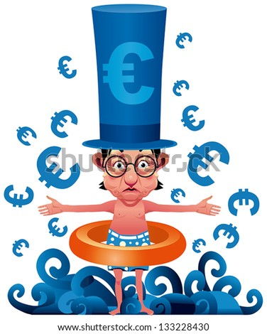 European Banking Crisis Banker cartoon with swimsuit - stock vector