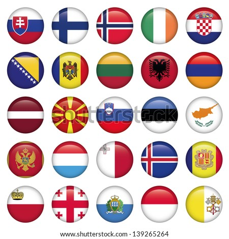 European Buttons Round Flags - stock vector