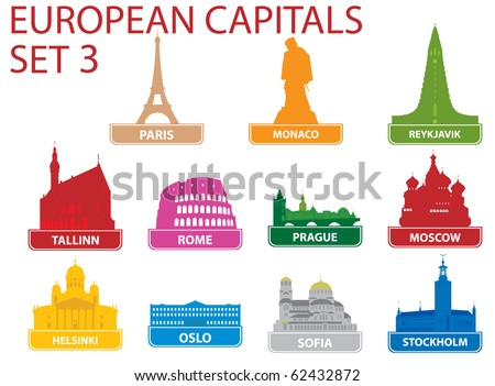 European capital symbols. Vector illustration. Set 3