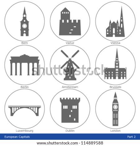 European Capitals - Icon Set (Part 2) - stock vector