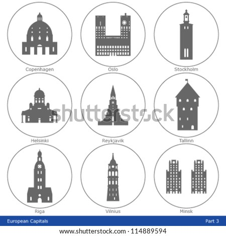 European Capitals - Icon Set (Part 3) - stock vector