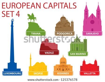 European capitals. Set 4 - stock vector