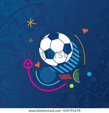 European championship 2016. Soccer Abstract blue background soccer pattern 2016 Football. Vector Illustration. Wallpaper - stock vector