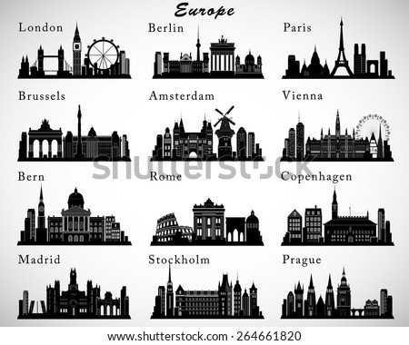European Cities skylines set. Vector silhouettes - stock vector