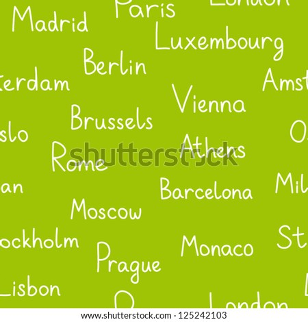 European cities typographic green seamless background, vector