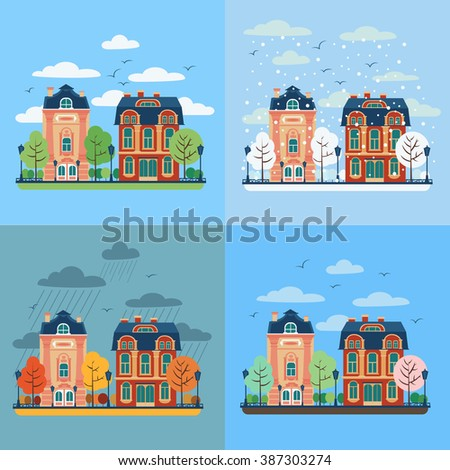 European City Urban Landscape with Vintage Houses and Trees in Four Seasons. Vector illustration in flat style - stock vector