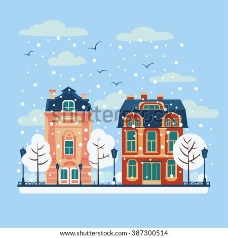 European City Urban Landscape with Vintage Houses and Trees in Winter. Vector illustration in flat style