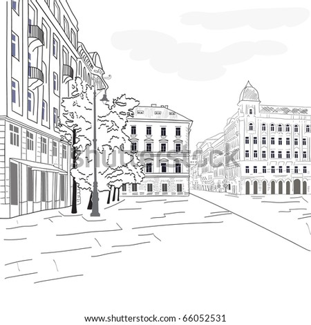 European cityscape - stock vector