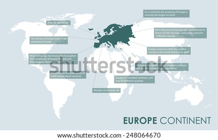 european continent facts - stock vector