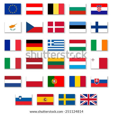 European Countries Flags Set 1 .Vector - stock vector