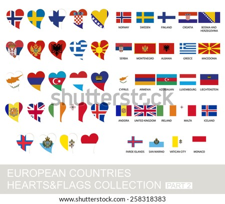European countries set, hearts and flags, 2  version, part 2