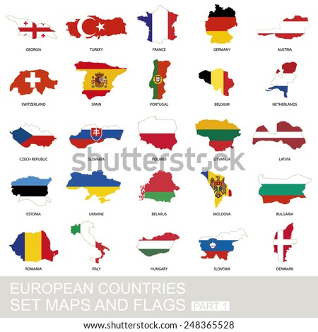 European countries set, maps and flags, part 1 - stock vector