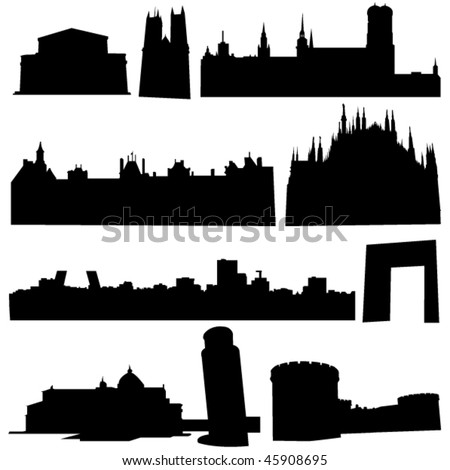 European countries, the most famous ancient buildings and cultural heritage of - stock vector