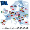 European country flags and map. All elements and textures are individual objects. Vector illustration scale to any size. - stock photo