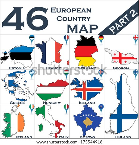 European country set with map pointers - Part 2 - stock vector