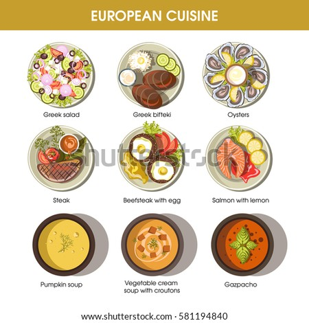 Vector illustration plate full delicious himachal stock for Apollon greek and european cuisine