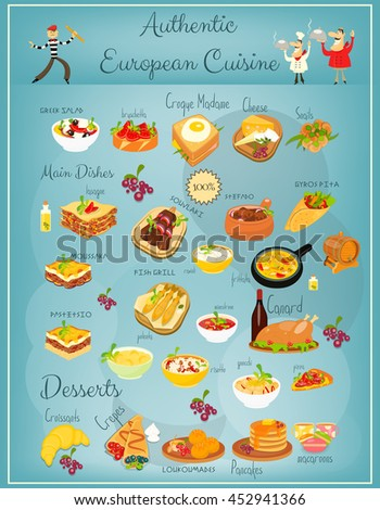 European cuisine menu greek italian french stock vector for Apollon greek and european cuisine