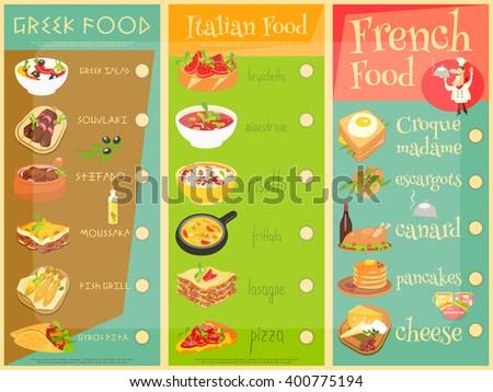 European Cuisine Menu Set. Greek, Italian, French Food. Menu Covers. Vector Illustration. - stock vector