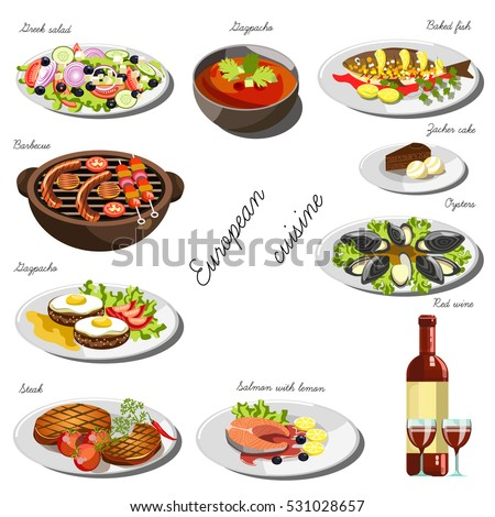 European cuisine set. Collection of food dishes for the decoration of restaurants, cafes, menus. Vector Illustration. Isolated on white.